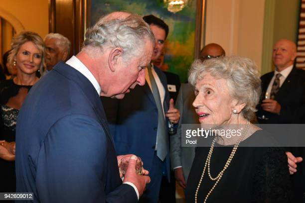 Prince Charles Prince of Wales meets with his former french teacher Dr Janet West at a reception at Queensland Government House in Brisbane on April...