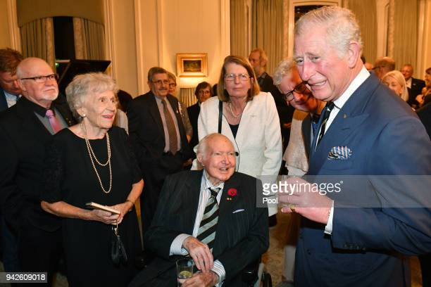 Prince Charles Prince of Wales meets with his former french teacher Dr Janet West and his former history teacher Michael Collins Persse from Geelong...