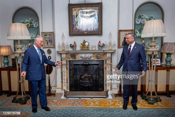 Prince Charles, Prince of Wales meets with Iraqi Prime Minister Mustafa Al-Kadhimi at Clarence House on October 22, 2020 in London, England.