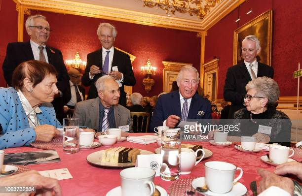 Prince Charles Prince of Wales meets with members of the Association of Jewish Refugees which marks the 80th anniversary of the Kindertransport at St...