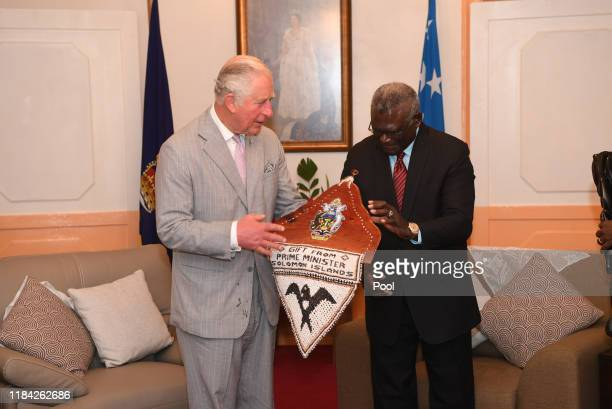 Prince Charles Prince of Wales meets with Prime Minister Manasseh Sogavare in Honiara Guadalcanal Island Solomon Islands