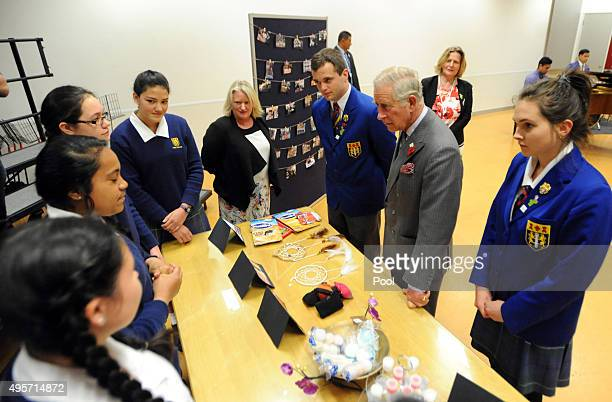 Prince Charles Prince of Wales meets with pupils hwo manufacture small goods as part of a business course at Tawa College on November 5 2015 in...