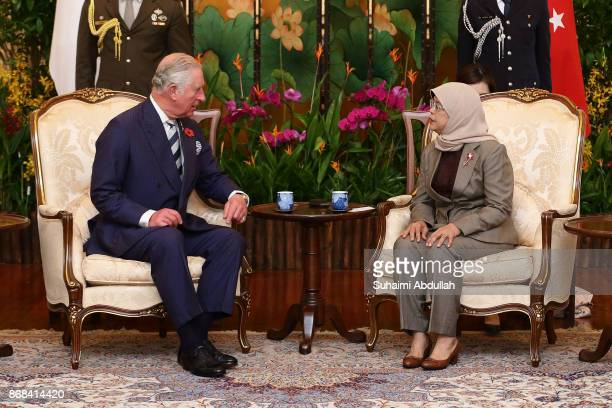 Prince Charles Prince of Wales meets with Singapore President Halimah Yacob at the Istana on October 31 2017 in Singapore Their Royal Highnesses the...