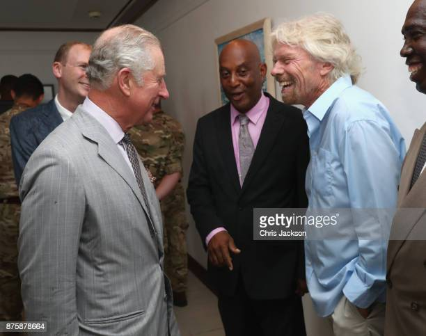 Prince Charles Prince of Wales meets with Sir Richard Branson on November 18 2017 in Road Town Tortola The Prince of Wales is on a three day visit to...