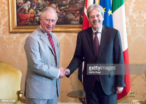 Prince Charles Prince of Wales meets with the Italian Prime Minister Paolo Gentiloni at Palazzo Chigi on April 5 2017 in Rome Italy Prince of Wales...
