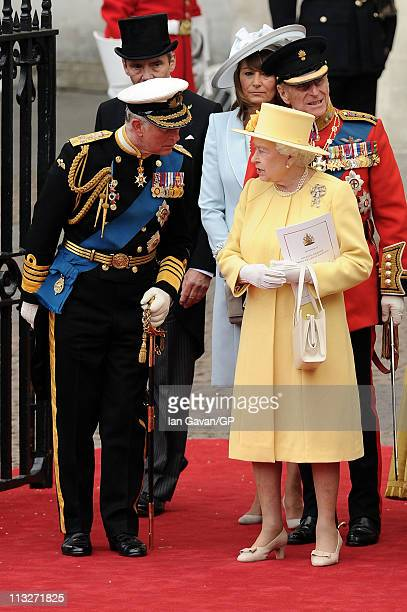 Prince Charles Prince of Wales Michael Middleton Carole Middleton Prince Philip Duke of Edinburgh Queen Elizabeth II Camill exit the Royal Wedding of...