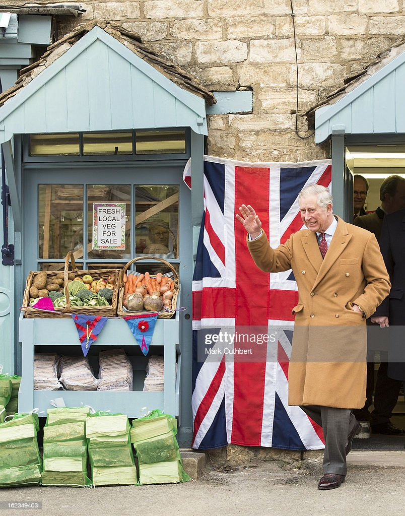 Prince Charles, Prince of Wales officially opens the Uley Community Stores and Post Office and meets volunteers and members of the local community who worked on the project on February 22, 2013 in Uley, Gloucestershire, United Kingdom.