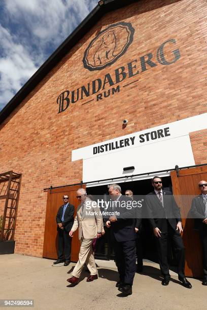 Prince Charles Prince of Wales particpates in a tour of the Bundaberg Rum Distillery on April 6 2018 in Bundaberg Australia The Prince of Wales and...