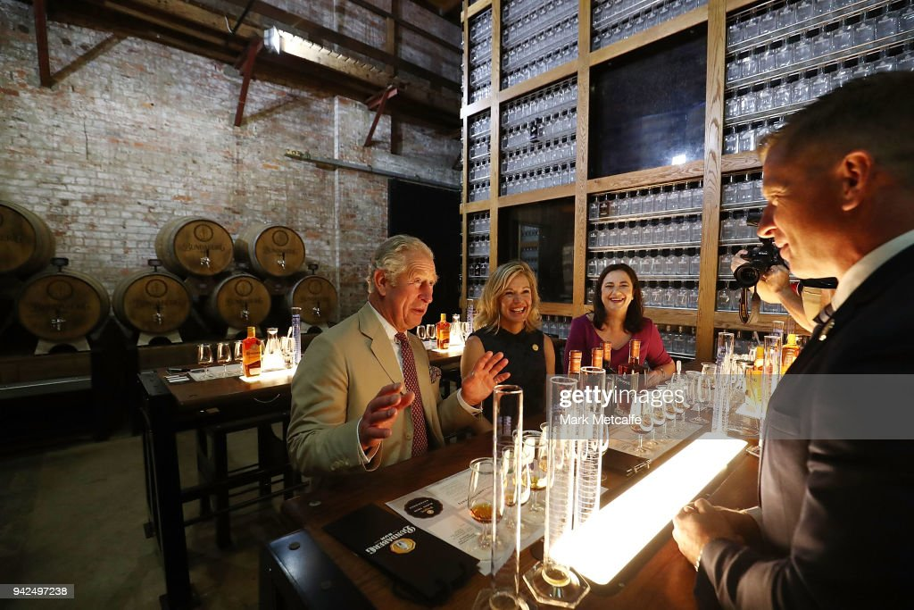 Prince Charles, Prince of Wales particpates in a tour of the Bundaberg Rum Distillery on April 6, 2018 in Bundaberg, Australia. The Prince of Wales and Duchess of Cornwall are on a seven-day tour of Australia, visiting Queensland and the Northern Territory.