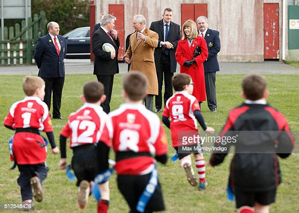 Prince Charles Prince of Wales Patron of Llandovery Rugby Club watches the club's youth team take part in a practice session on February 26 2016 in...