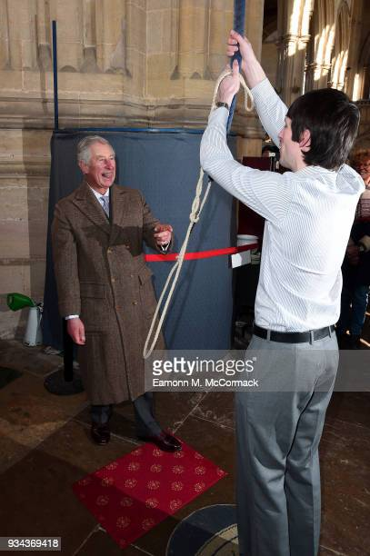 Prince Charles Prince of Wales Patron of The Lincolnshire Churches Trust and of The Almshouse Association rings the church bell as he visits The Holy...