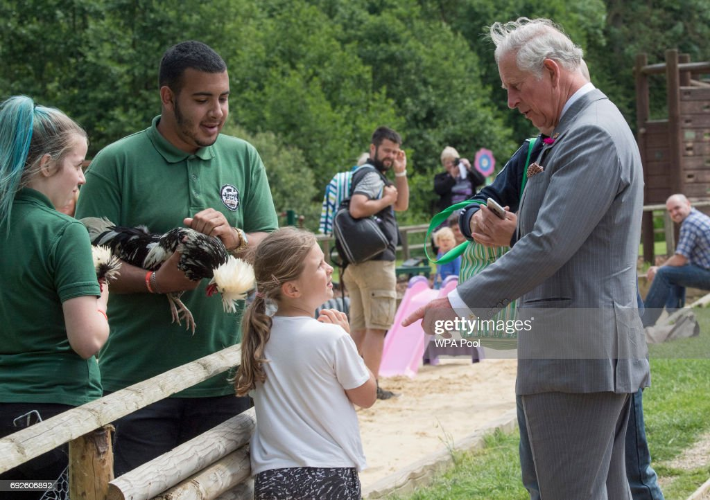 Prince Charles, Prince of Wales, Patron, The Rare Breeds Survival Trust, visits Jimmy's Farm to meet the trust's new President, Jimmy Doherty, and find out more about his farm's education and rare breeds programme on June 5, 2017 in Ipswich, England.