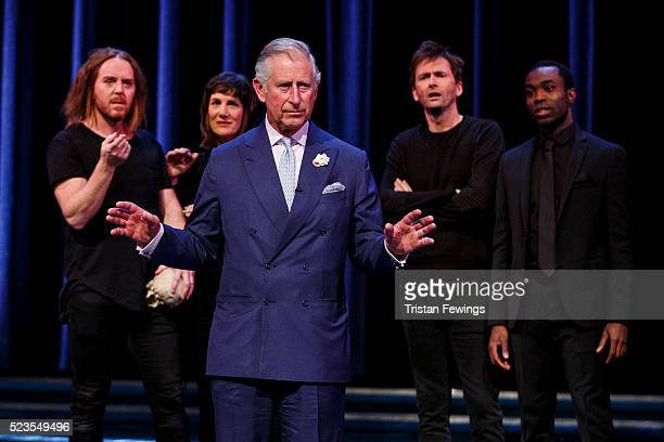 Prince Charles, Prince of Wales performs alongside Tim Minchin, Harriet Walter, David Tennant and Paapa Essiedu on stage as part of a special...
