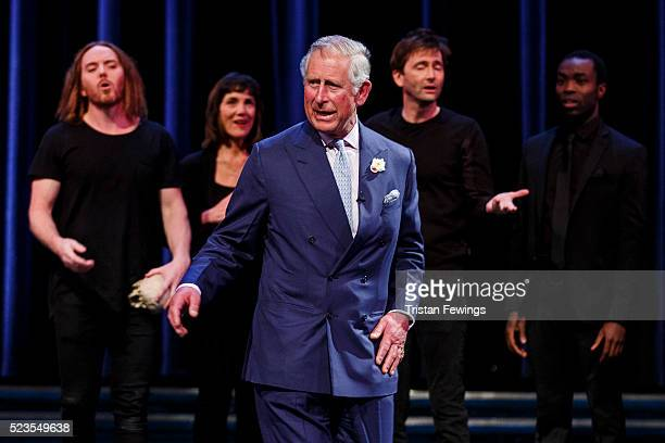 Prince Charles Prince of Wales performs alongside Tim Minchin Harriet Walter David Tennant and Paapa Essiedu on stage as part of a special production...
