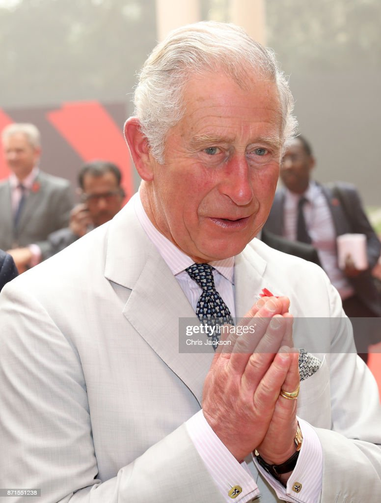 Prince Charles, Prince of Wales performs the Namaste gesture as he attends a celebration of the UK-India Year of Culture hosted at the British Council during a visit to India on November 8, 2017 in New Delhi, India. The Prince of Wales and Duchess of Cornwall are on a tour of Singapore, Malaysia, Brunei and India.