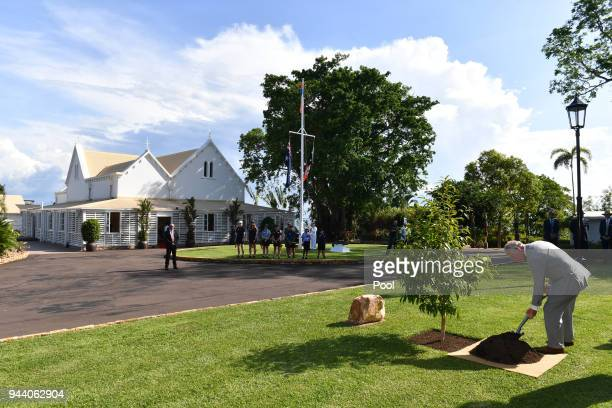 Prince Charles Prince of Wales plants a tree at a tree planting ceremony during a reception at Government House on April 10 2018 in Darwin Australia...