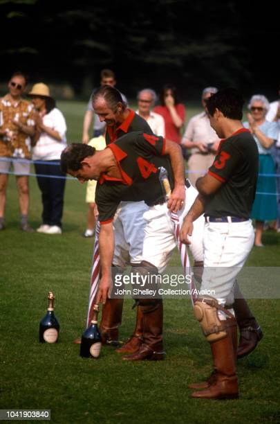 Prince Charles Prince of Wales Playing polo with his friend Geoffrey Kent at a polo match at Cirencester Polo Club 4th June 1989