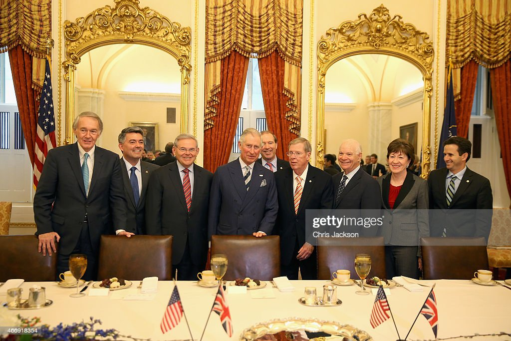 Prince Charles, Prince of Wales poses with Sentaors (L-R) Ed Markey, Cory Gardner, Bob Menendez, Tom Udall, John Isakson, Ben Cordin, Susan Collins and Brian Schatz in the Capitol Building on the third day of a visit to the United States on March 19, 2015 in Washington, DC. The Prince and Duchess are in Washington as part of a Four day visit to the United States.