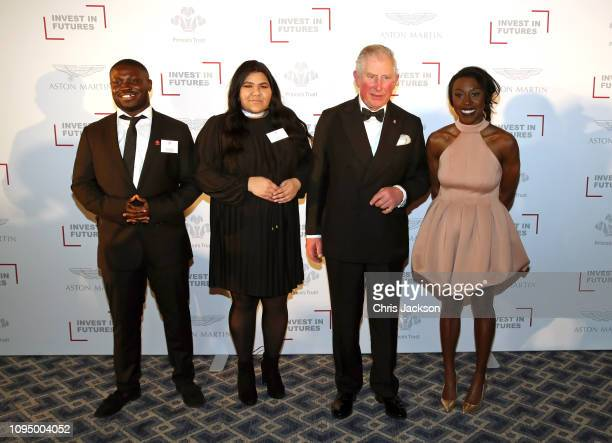 Prince Charles Prince Of Wales poses with singer Laura Mvula and Prince's Trust Ambassadors during the Prince's Trust 'Invest In Futures' Reception...