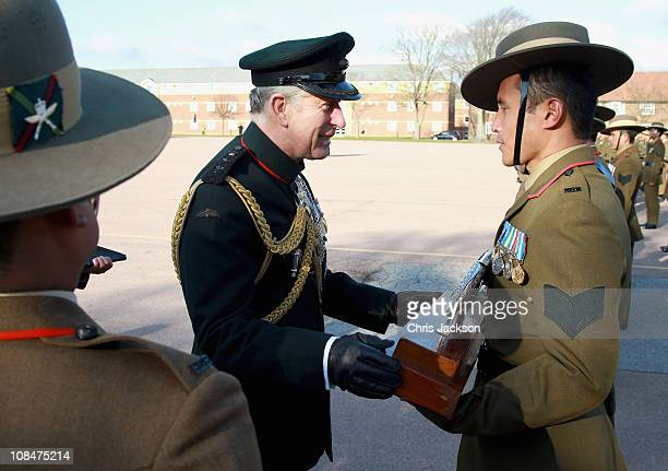 Prince Charles Prince of Wales presents Afghanistan Service Medals to Gurkas at Sir John Moore Barracks on January 28 2011 in Folkestone England...
