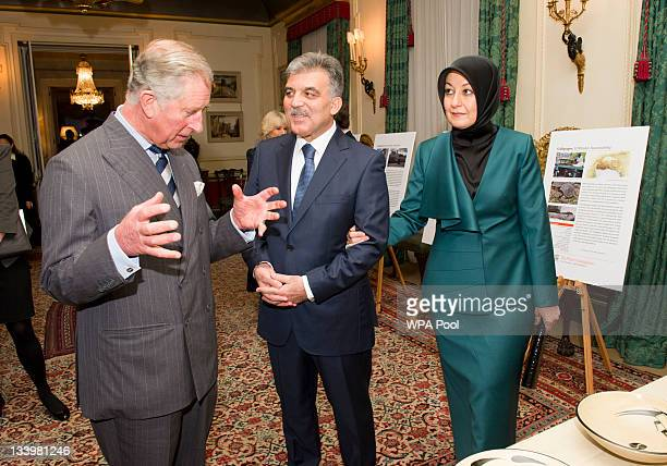 Prince Charles Prince of Wales President of Turkey Abdullah Gul and his wife Hayrunnisa Gul during their visit to Clarence House on November 23 2011...