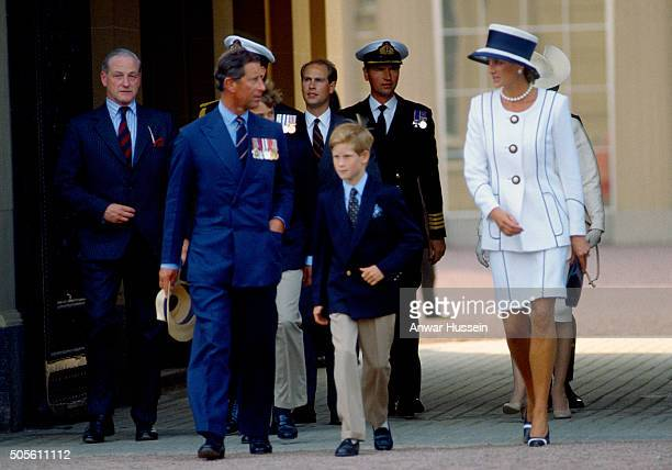 Prince Charles Prince of Wales Prince Edward Earl of WessexPrince Harry and Diana Princess of Wales leave Buckingham Palace to attend VJ Day...