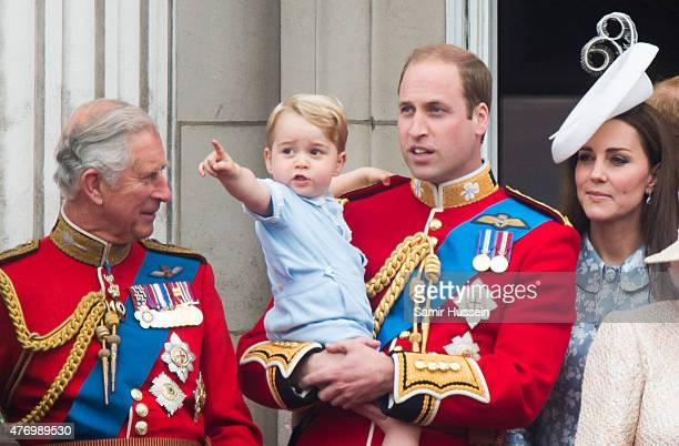 Prince Charles Prince of Wales Prince George of Cambridge Prince William Duke of Cambridge Catherine Duchess of Cambridge look on from the balcony...
