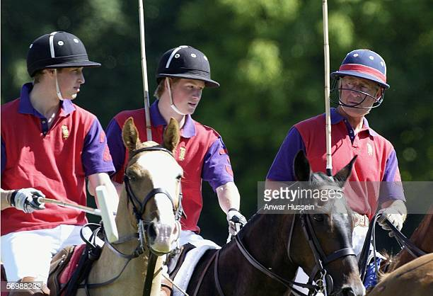 Prince Charles Prince of Wales Prince Harry and Prince William play polo at Tidworth on July 18 2003 in Tidworth England