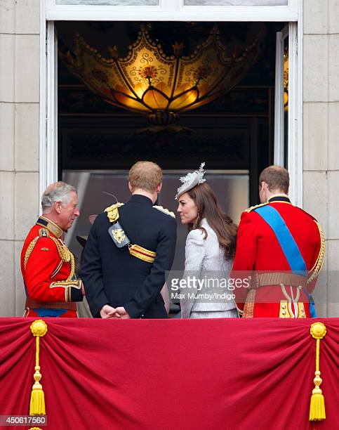 Prince Charles Prince of Wales Prince Harry Catherine Duchess of Cambridge and Prince William Duke of Cambridge watch the flypast from the balcony of...