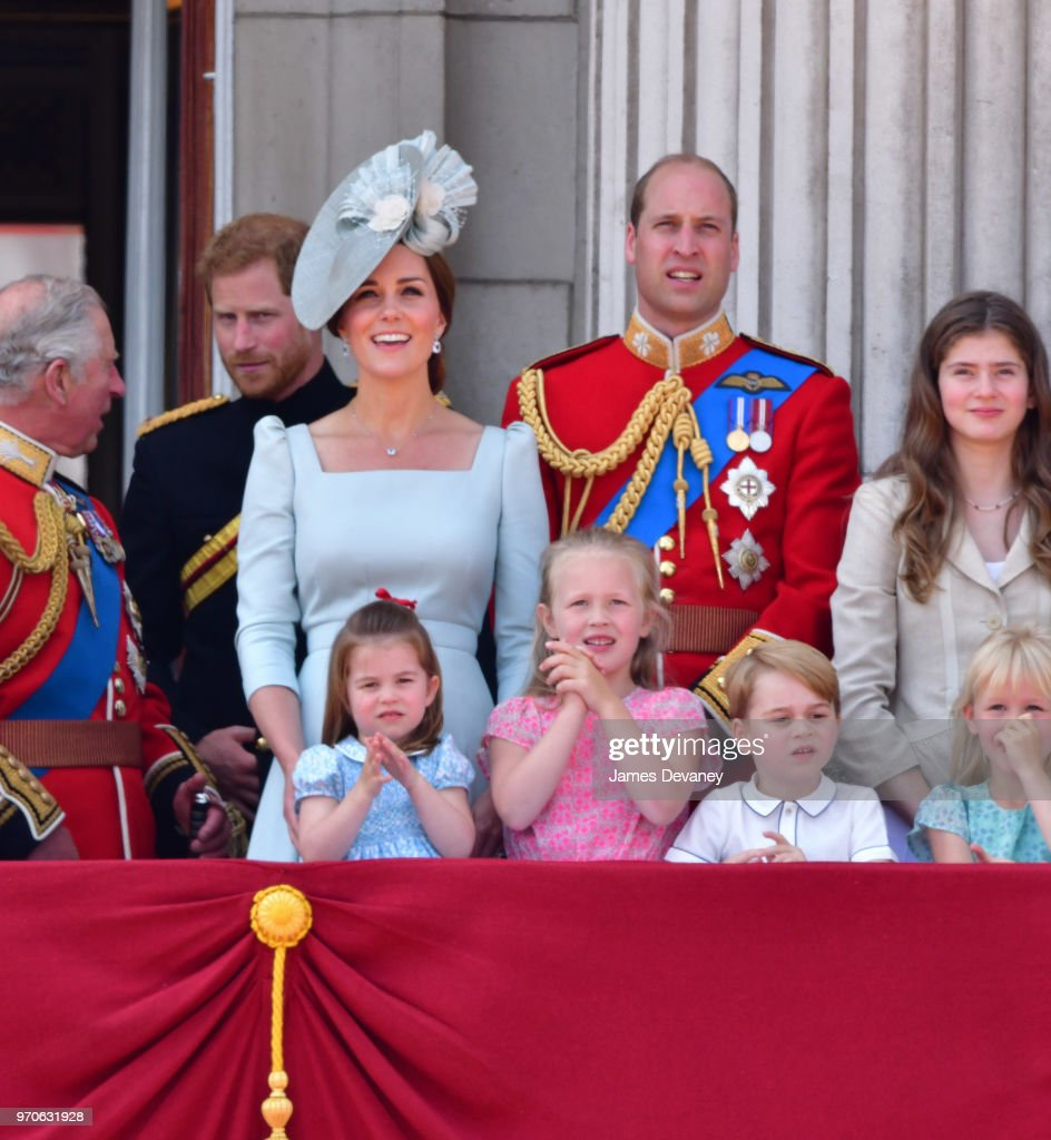 Prince Charles, Prince of Wales, Prince Harry, Duke of Sussex, Catherine, Duchess of Cambridge, Prince William, Duke of Cambridge, Princess Charlotte of Cambridge, Savannah Phillips, Prince George of Cambridge and Isla Phillips stand on the balcony of Buckingham Palace during the Trooping the Colour parade on June 9, 2018 in London, England.