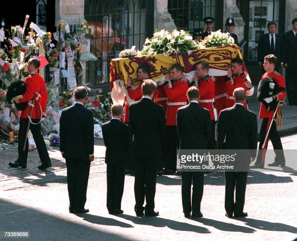 Prince Charles, Prince of Wales, Prince Harry, Earl Spencer, Prince William and Prince Philip, Duke of Edinburgh with the Princess of Wales' coffin...