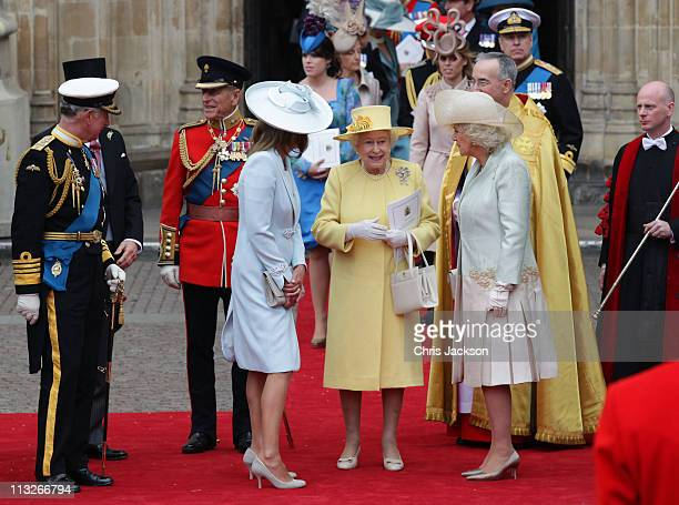 Prince Charles Prince of Wales Prince Philip Duke of Edinburgh Queen Elizabeth II and Camilla Duchess of Cornwall speak following the marriage of...