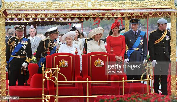 Prince Charles, Prince of Wales, Prince Philip, Duke of Edinburgh, Queen Elizabeth II, Camilla, Duchess of Cornwall, Catherine, Duchess of Cambridge,...