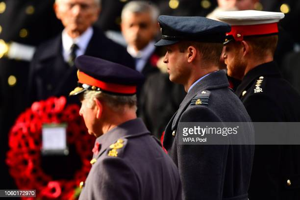 Prince Charles Prince of Wales Prince William Duke of Cambridge and Prince Harry Duke of Sussex attend the annual Remembrance Sunday memorial on...