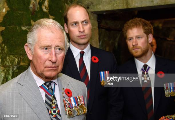 Prince Charles Prince of Wales Prince William Duke of Cambridge and Prince Harry visit the tunnel and trenches at Vimy Memorial Park during the...