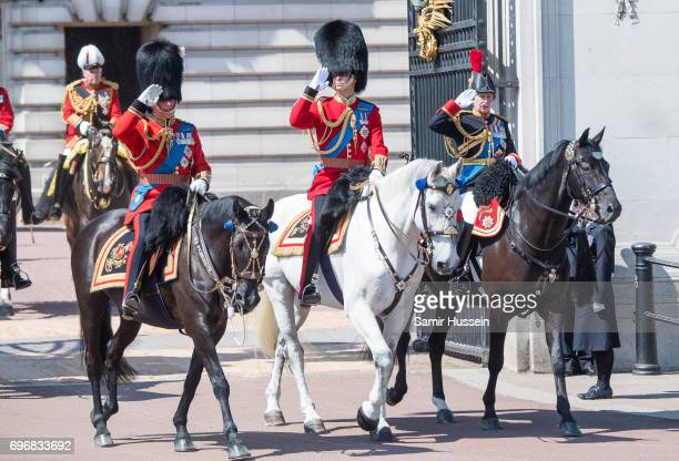 Prince Charles Prince of Wales Prince William Duke of Cambridge and Princess Anne Princess Royal ride a horse during the annual Trooping The Colour...