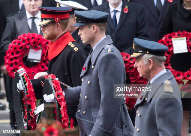 Prince Charles Prince of Wales Prince William Duke of Cambridge and Prince Harry during the annual Remembrance Sunday Service at The Cenotaph on...