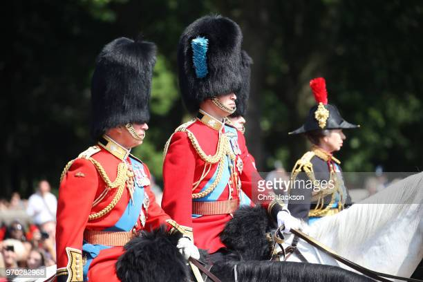 Prince Charles Prince of Wales Prince William Duke of Cambridge and Princess Anne Princess Royal during Trooping The Colour on the Mall on June 9...