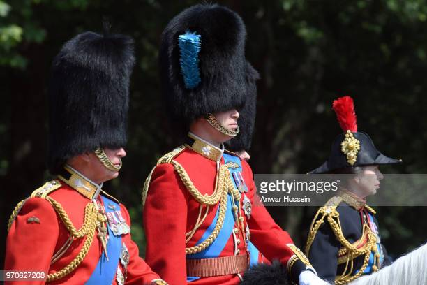 Prince Charles Prince of Wales Prince William Duke of Cambridge and Princess Anne Princess Royal ride on horseback to the Trooping the Colour...
