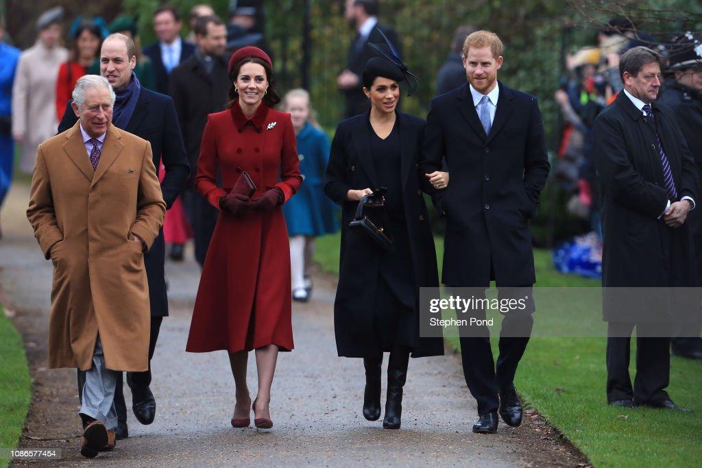 The Royal Family Attend Church On Christmas Day : Foto di attualità