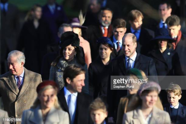 Prince Charles, Prince of Wales , Prince William, Duke of Cambridge, Catherine, Duchess of Cambridge and Prince George attend the Christmas Day...