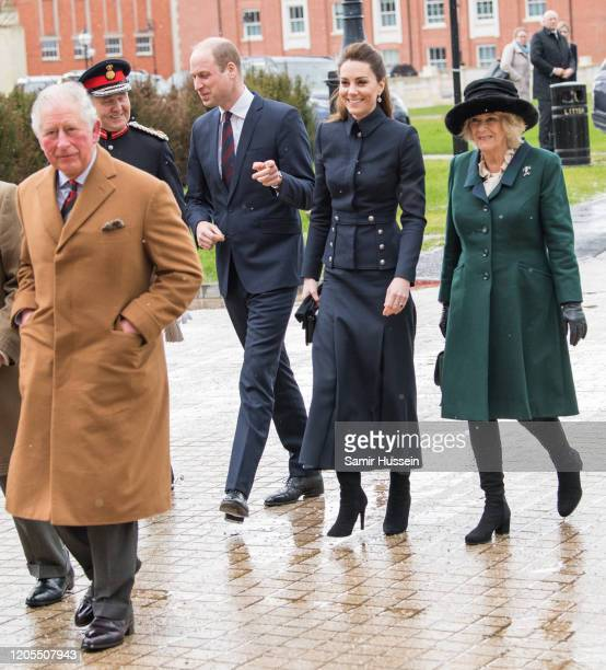 Prince Charles, Prince of Wales, Prince William, Duke of Cambridge, Catherine, Duchess of Cambridge and Camilla, Duchess of Cornwall visit the...