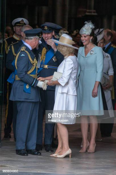 Prince Charles Prince of Wales Prince William Duke of Cambridge Camilla Duchess of Cornwall and Catherine Duchess of Cambridge attend a service at...
