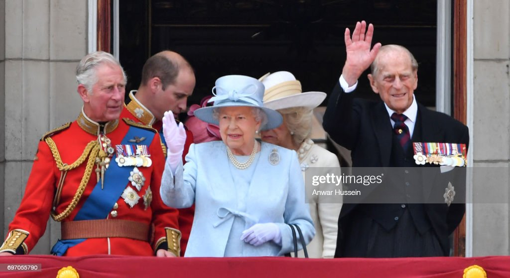 Prince Charles, Prince of Wales, Prince William, Duke of Cambridge, Queen Elizabeth ll and Prince Philip, Duke of Edinburgh look out from the balcony of Buckingham Palace during the annual Trooping the Colour parade on June 17, 2017 in London, England.
