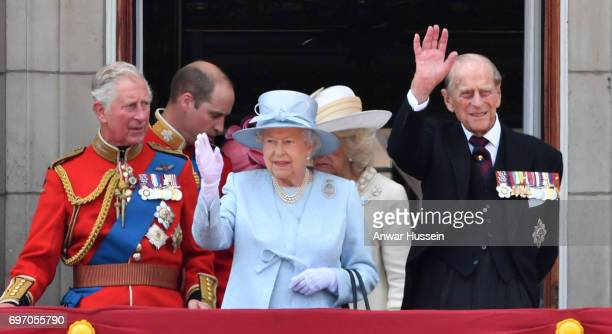 Prince Charles Prince of Wales Prince William Duke of Cambridge Queen Elizabeth ll and Prince Philip Duke of Edinburgh look out from the balcony of...