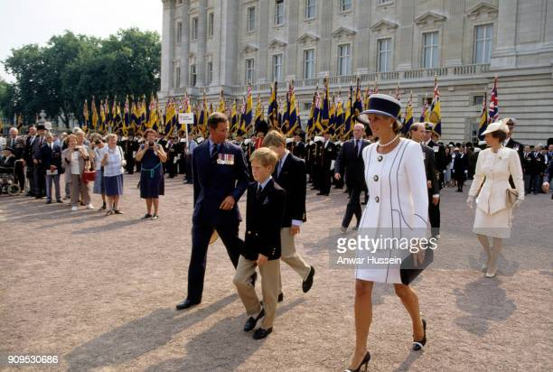 Prince Charles Prince of Wales Prince William Prince Harry and Diana Princess of Wales leave Buckingham Palace to attend VJ Day commemorations on...