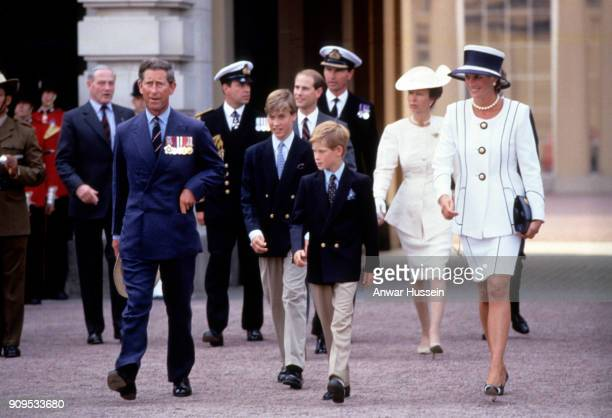 Prince Charles Prince of Wales Prince William Prince Harry Diana Princess of Wales Prince Andrew Prince Edward and Princess Anne leave Buckingham...