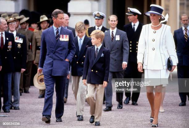 Prince Charles Prince of Wales Prince William Prince Harry Diana Princess of Wales Prince Andrew and Prince Edward leave Buckingham Palace to attend...