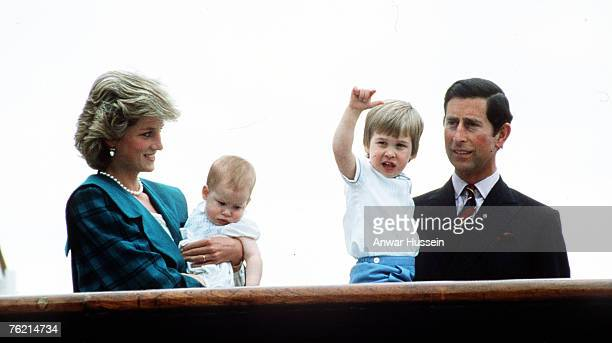 Prince Charles Prince of Wales Princess Diana Princess of Wales pose with sons Prince William and Prince Harry on the Royal Yacht Britannia on May 6...