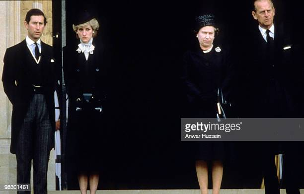 Prince Charles Prince of Wales Princess Diana Princess of Wales Queen Elizabeth ll and Prince Philip Duke of Edinburgh attend the funeral of the...